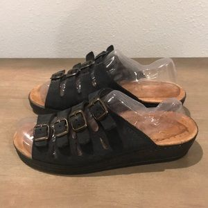83cad2965eb Fly Flots Shoes | Fly Flot Black Leather Wedge Sandals Sz E 39 Us 8 ...